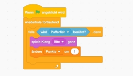 Screenshot eines Programmcodes in Scratch.
