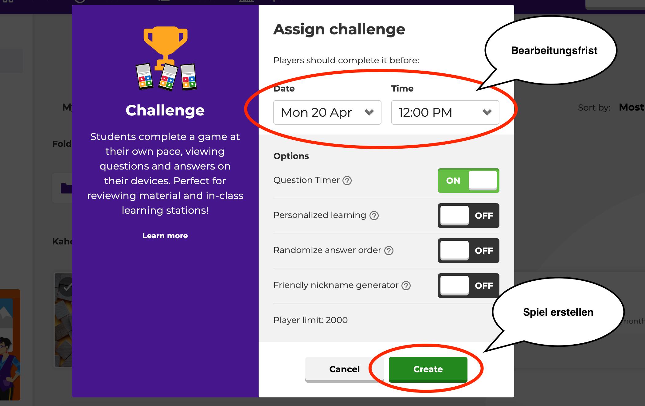 Übersicht des Startbildschirm im Assign Modus. Hier kann eine Deadline für das laufende Spiel festgelegt werden.